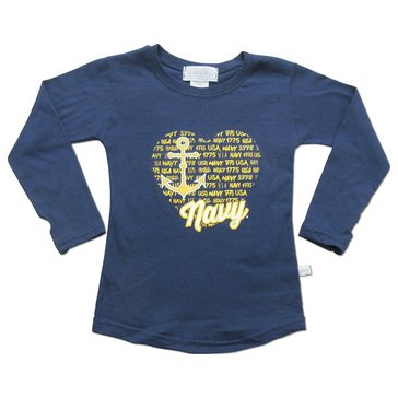 Third Street Toddler Girls' USN Light Weight Heart Repeat Tee