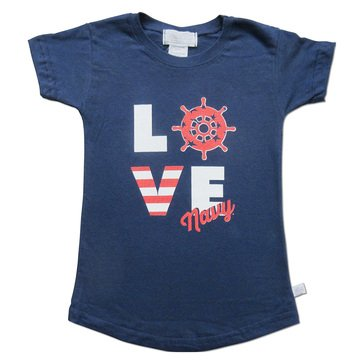 Third Street Toddler Girls' USN Light Weight Stacked Love Tee