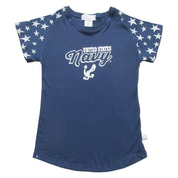 Third Street Youth Girls' USN Light Weight Anchor Stars Tee