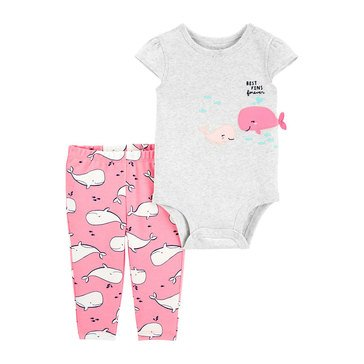 Carter's Baby Girls' 2-Piece Whale Bodysuit & Pant Set