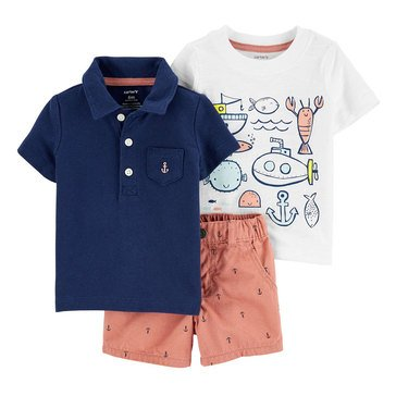 Carter's Baby Boys' 3-Piece Anchor Sea Life Polo & Shorts Set