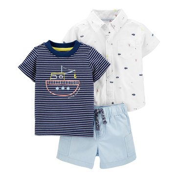 Carter's Baby Boys' 3-Piece Button-Front Top and Shorts Set