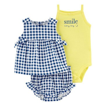 Carters Baby Girls' Gingham Diaper Cover 3-Piece Set