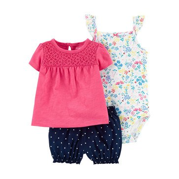 Carters Baby Girls' Eyelet Diaper Cover 3-Piece Set
