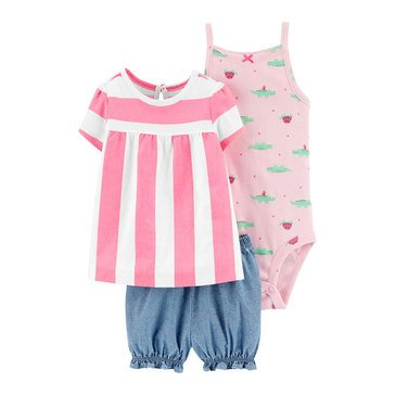 Carters Baby Girls' Stripe Top Diaper Cover 3-Piece Set