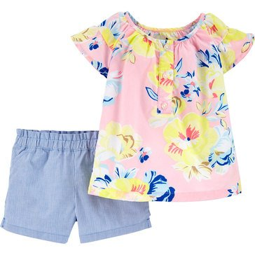Carter's Baby Girls' 2-Piece Floral Top & Shorts Set