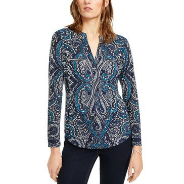 I.N.C. International Concepts Women's Paisley Zip Top