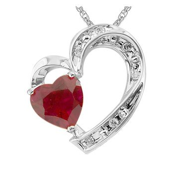 Sterling Silver Created Ruby and White Topaz Heart Pendant