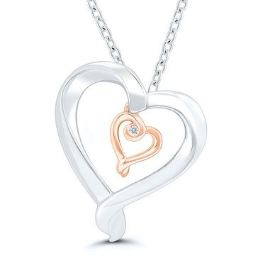 Sterling Silver with 10K Diamond Accent Kissing Heart Pendant
