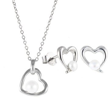 Sterling Silver Freshwater Pearl Heart Pendant and Earring Set