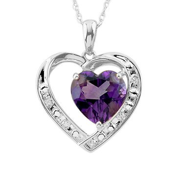 Sterling Silver Amethyst and White Topaz Heart Pendant