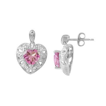 Sterling Silver Created Pink and White Topaz Heart Earrings