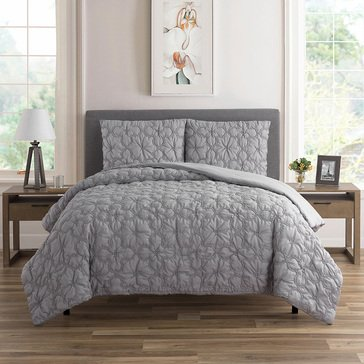 Harbor Home Textured Floral Grey 3pc Quilt Set