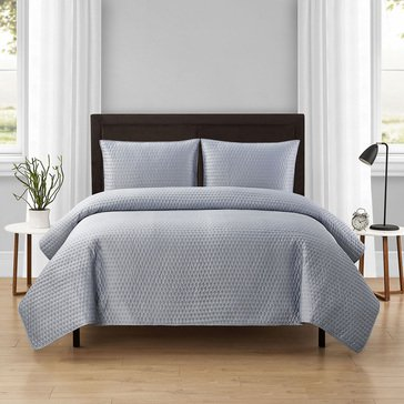 Harbor Home Matte Satin Embrod,3pc Quilt Set