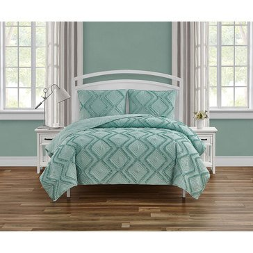 Harbor Home Ellisbury Aqua 3pc Quilt set