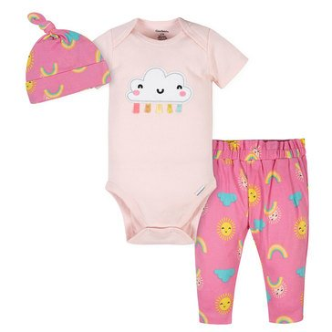 Gerber Baby Girls' 3-Piece Bodysuit, Cap & Slim Pants Set