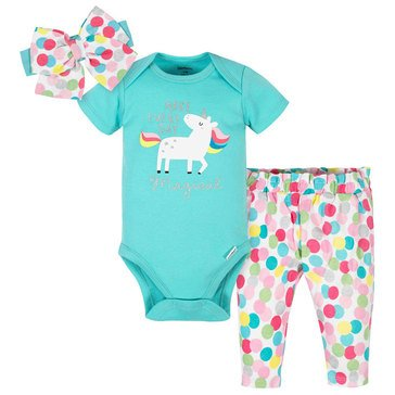 Gerber Baby Girls' 3-Piece Bodysuit, Headband & Slim Pants Set