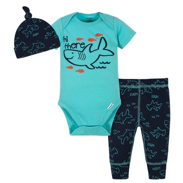 Gerber Baby Boys' 3-Piece Bodysuit, Cap & Active Pants Set