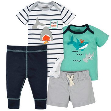 Gerber Baby Boys' 4-Piece Bodysuit, Shorts, Shirt & Active Pants Set