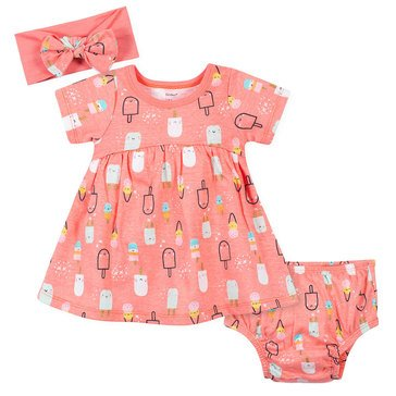 Gerber Baby Girls' 3-Piece Dress, Diaper Cover & Headband Set