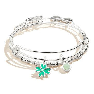 Alex and Ani Four Leaf Clover Duo Charm Set of 2, Shiny Silver