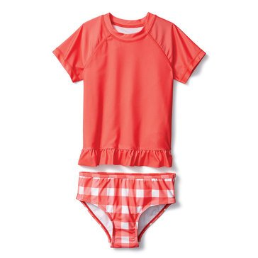 Liberty & Valor Toddler Girls' Gingham Rash Guard Set