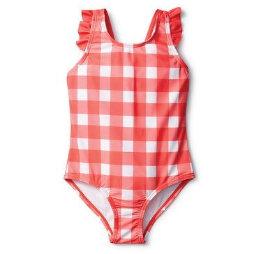 Liberty & Valor Toddler Girls' Gingham Bow Back 1 Piece Suit