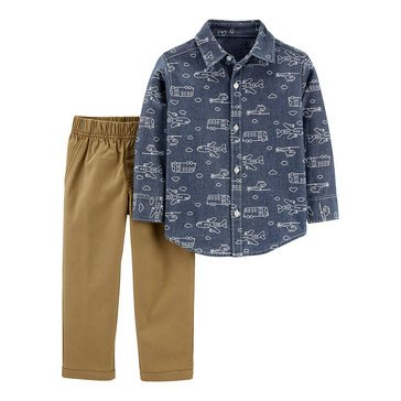 Carter's Toddler Printed Chambray Button Up Set