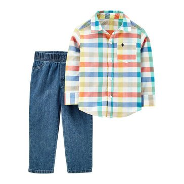 Carter's Toddler Multi Plaid Button Up Set