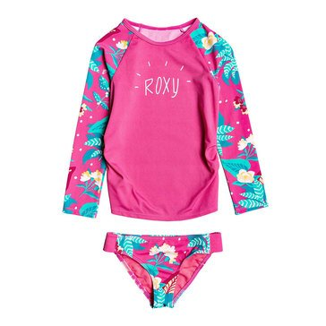ROXY Little Girls' Long Sleeve Magical Sea 2-Piece Swimsuit