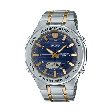 Casio Men's Blue Dial/Silver Gold Metal Strap Watch, 48mm