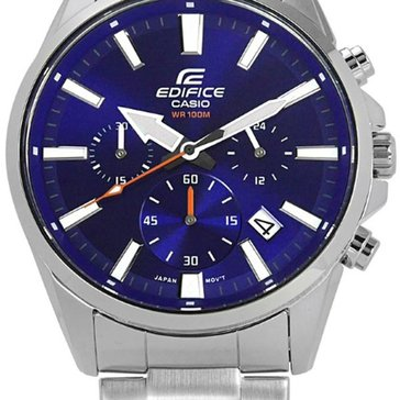 Casio Men's Blue Dial/Silver Stainless Steel Strap Watch, 44mm
