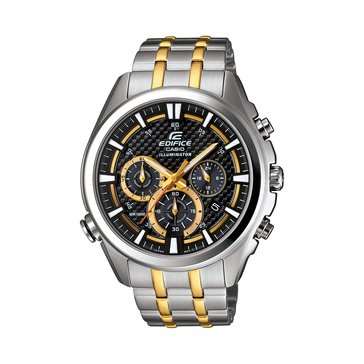 Casio Men's Black Dial/Silver-Gold Stainless Strap Watch, 50mm