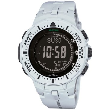 Casio Men's Black Dial/White Resin Strap Watch, 47mm