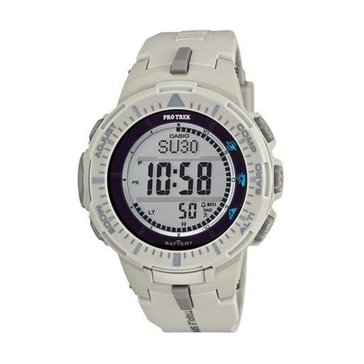 Casio Men's Grey Dial/White Resin Strap Watch, 47 mm