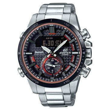Casio Men's Black Dial/Silver Stainless Strap Watch, 53.5mm