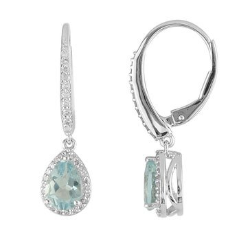 Sterling Silver Aquamarine and White Topaz Earrings
