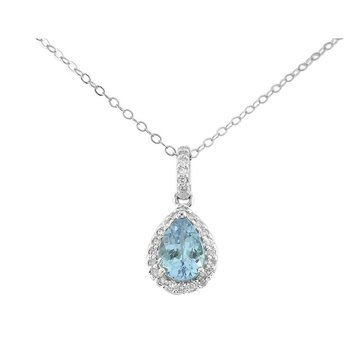 Sterling Silver Aquamarine and White Topaz Pendant