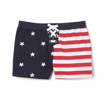 French Toast Baby Girls' Americana Print Lace Up Shorts