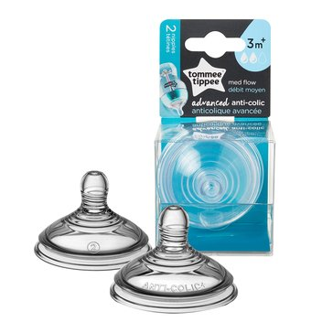 Tommee Tippee Advanced Anti-Colic 2 Pack Medium Flow Nipple