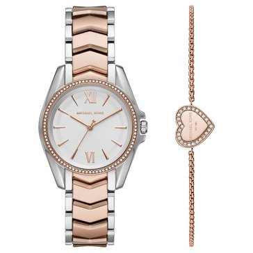 Michael Kors Women's Mothers Day Gift Set Two Tone Rose Bracelet Watch