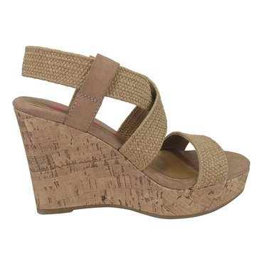 Jellypop Women's Makenna Crisscross Stretch Cork Wedge Sandal