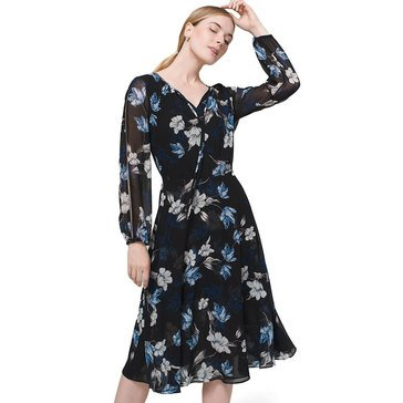 White House Black Market Women's Floral Blouson Dress