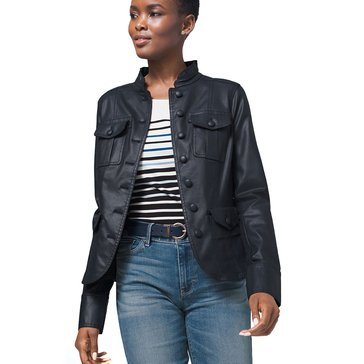 White House Black Market Women's Coated Denim Military Style Jacket