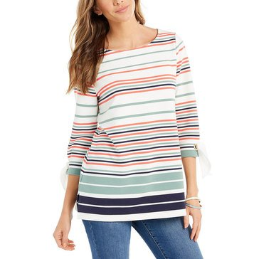 Charter Club Women's Striped Tie Sleeve Tunic