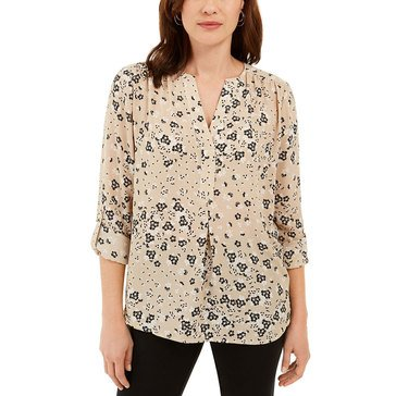 Charter Club Women's Floral Roll Tab Blouse