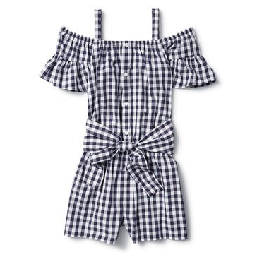 Liberty & Valor Little Girls' Ruffle Sleeve Romper