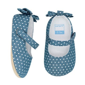 Carter's Girls' Chambray Heel Bow Mary Jane Shoe
