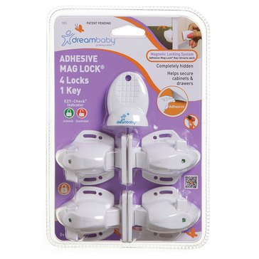Dreambaby EZY-Check Adhesive Magnetic Lock 4 locks, 1 key
