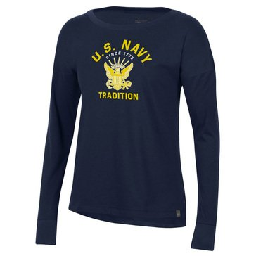 UA Womens U.S Navy Eagle Tradition Performance Cotton Long Sleeve Tee